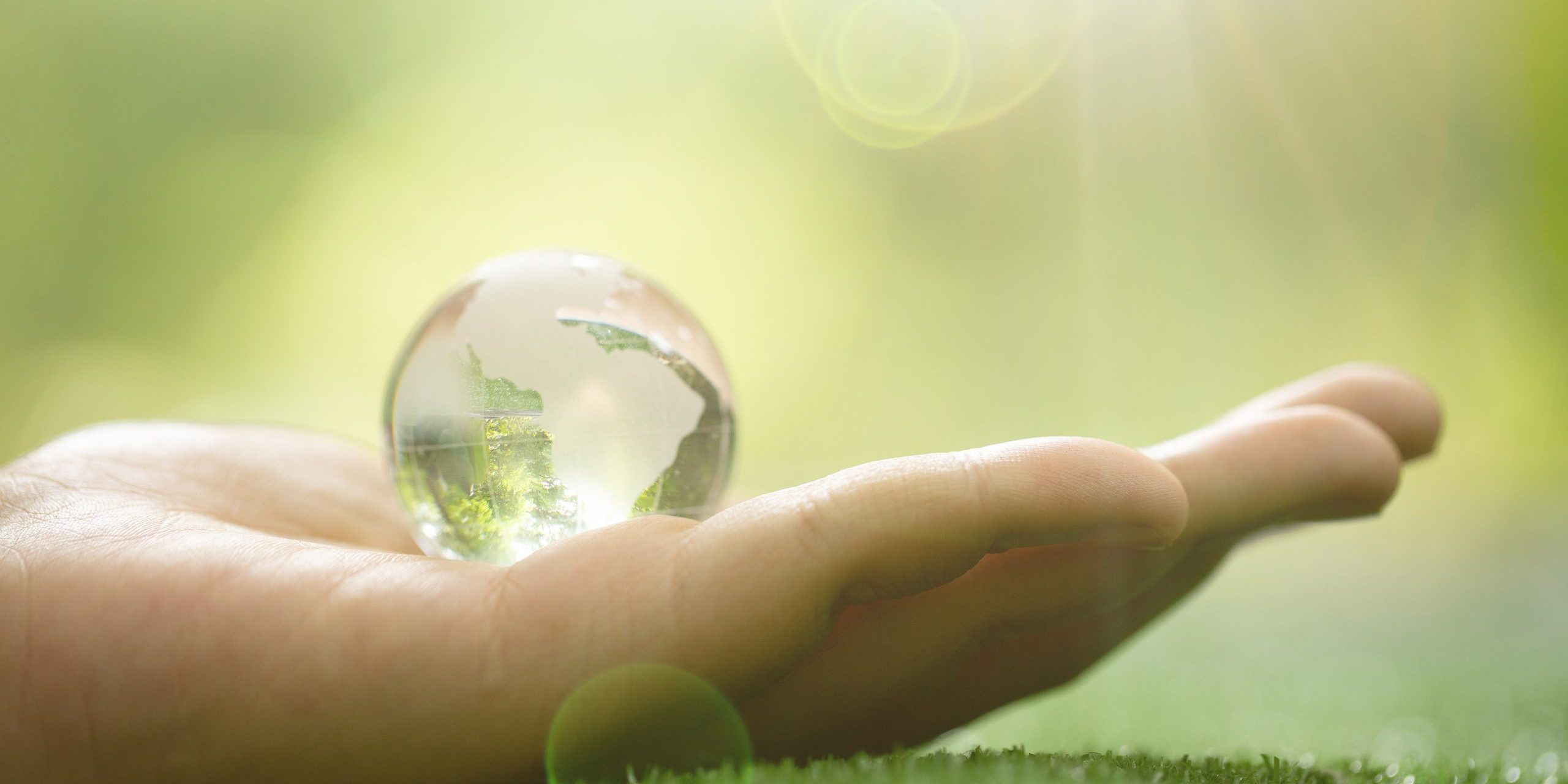 Close up of Green Planet in Your Hands. Save Earth. Environment Concept.